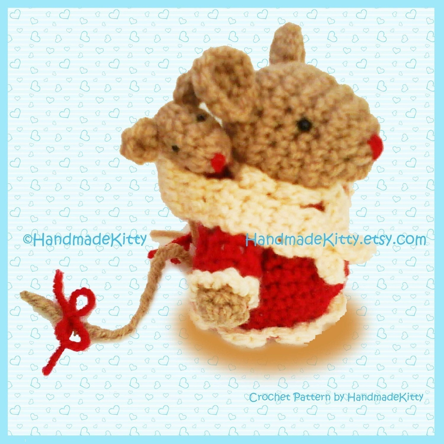 Mommy mouse and Baby mouse Amigurumi PDF Crochet Pattern.