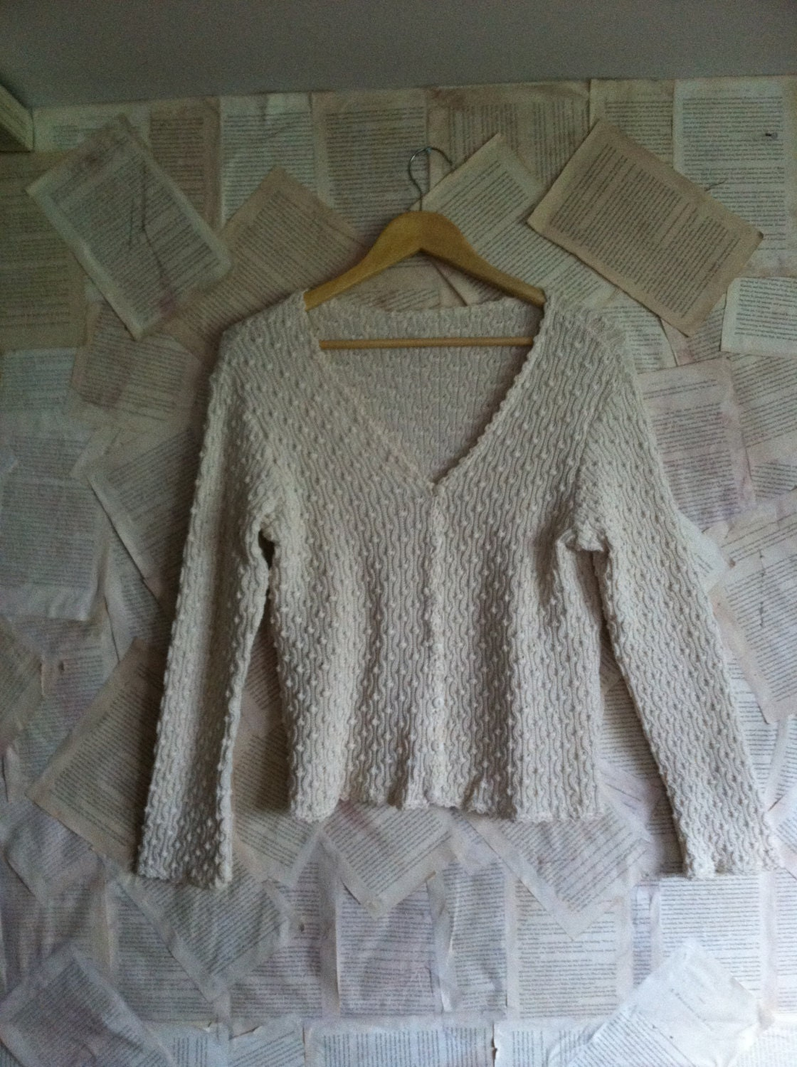 Hand Knit Sweater Patterns : Dot Pattern Hand knit Crop Cardigan Sweater by sprinklemevintage