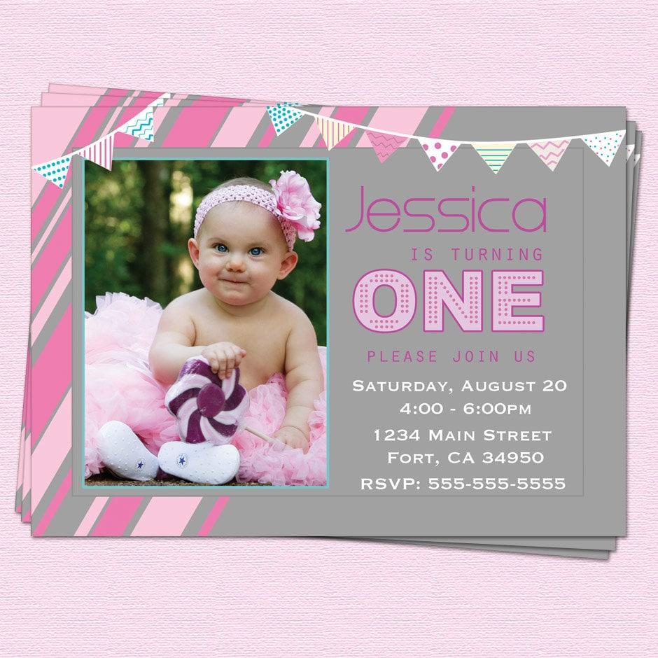 1st Birthday Invitations Girl Modern One Year By CupcakeDream