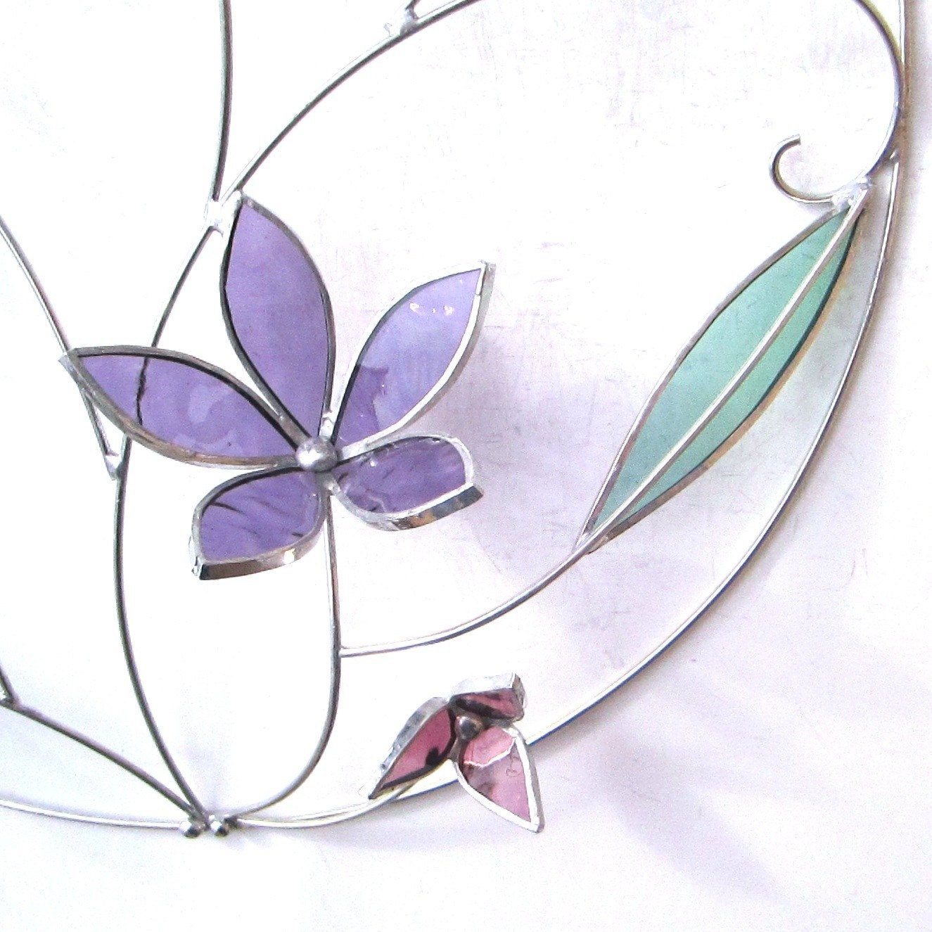 Floral Flourish - Medium Stained Glass Wall Accent