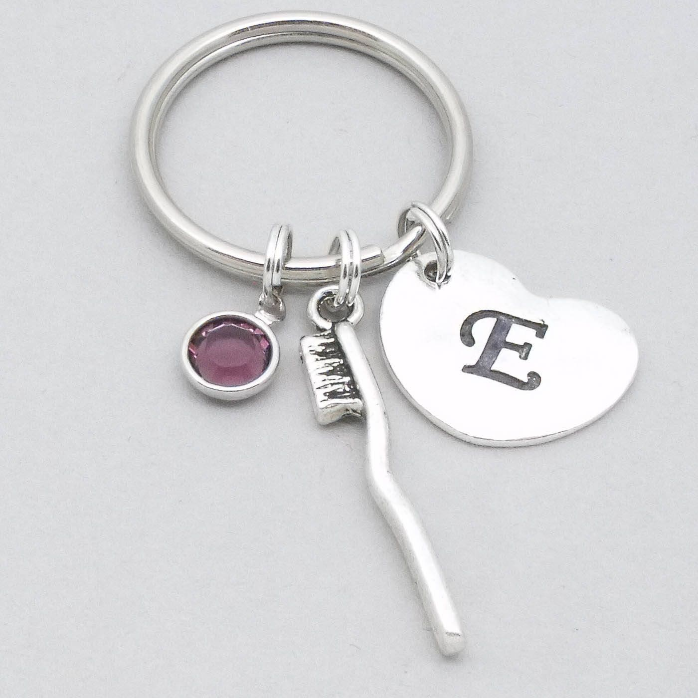 Toothbrush keyring  toothbrush keychain  personalised dentist gift  dental nurse gift  dental hygienist  heart initial