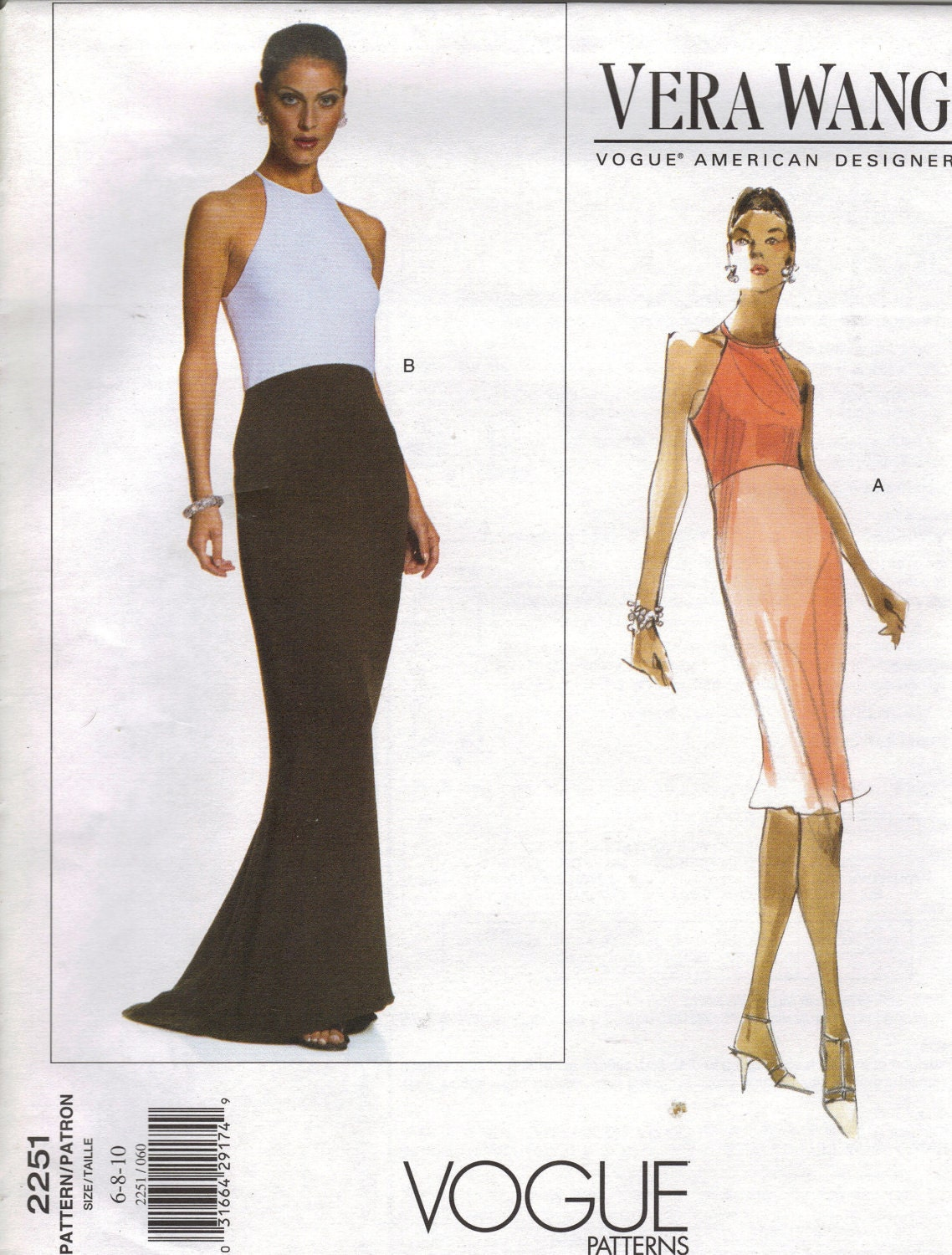 Vera Wang cocktail or evening dress pattern - Vogue 2251