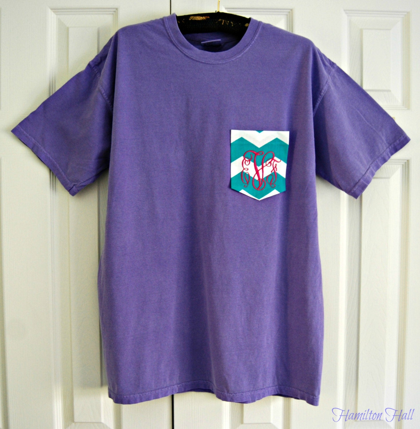 Monogrammed pocket comfort colors short sleeve t by for Custom t shirts with pockets