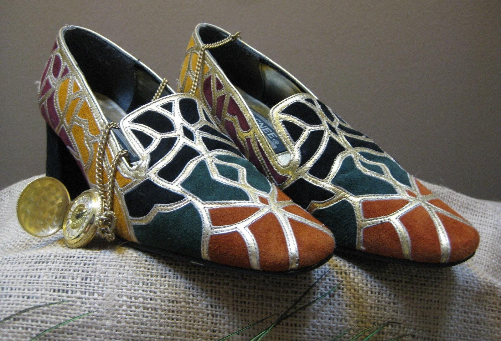Vintage Ladies 6M Muticolored Suede Shoes