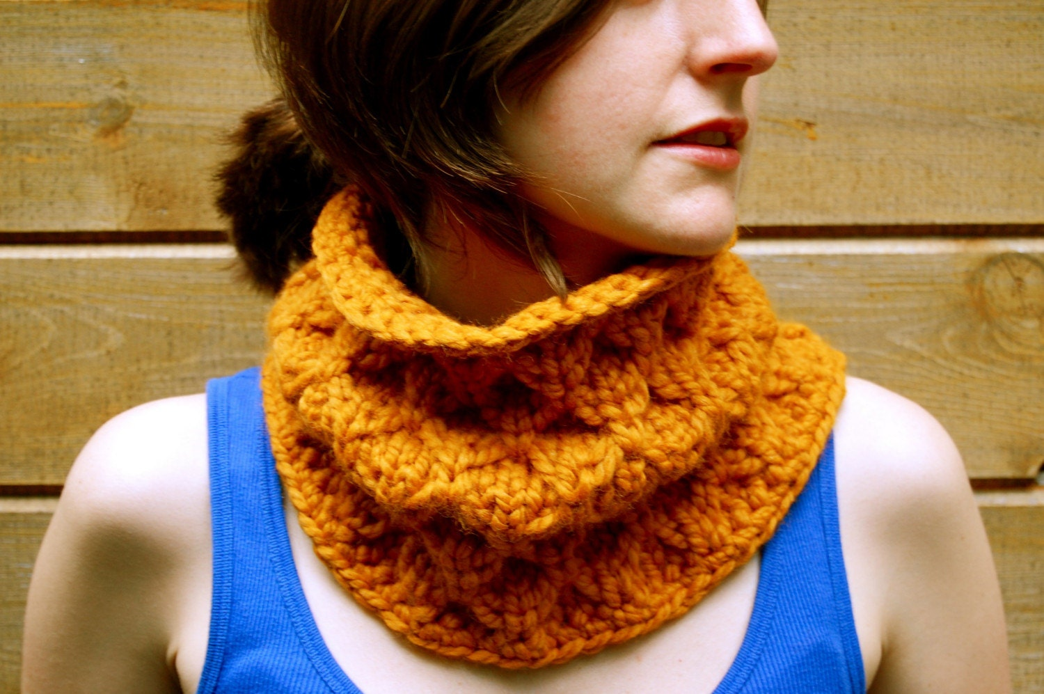 Knit Honeycomb Chunky Cowl in Mustard Yellow