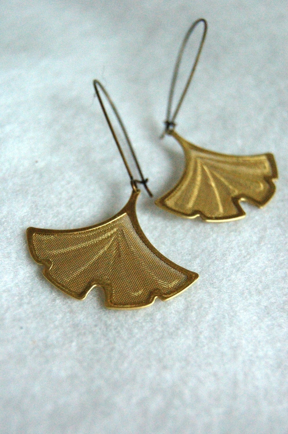 brass ginko earrings