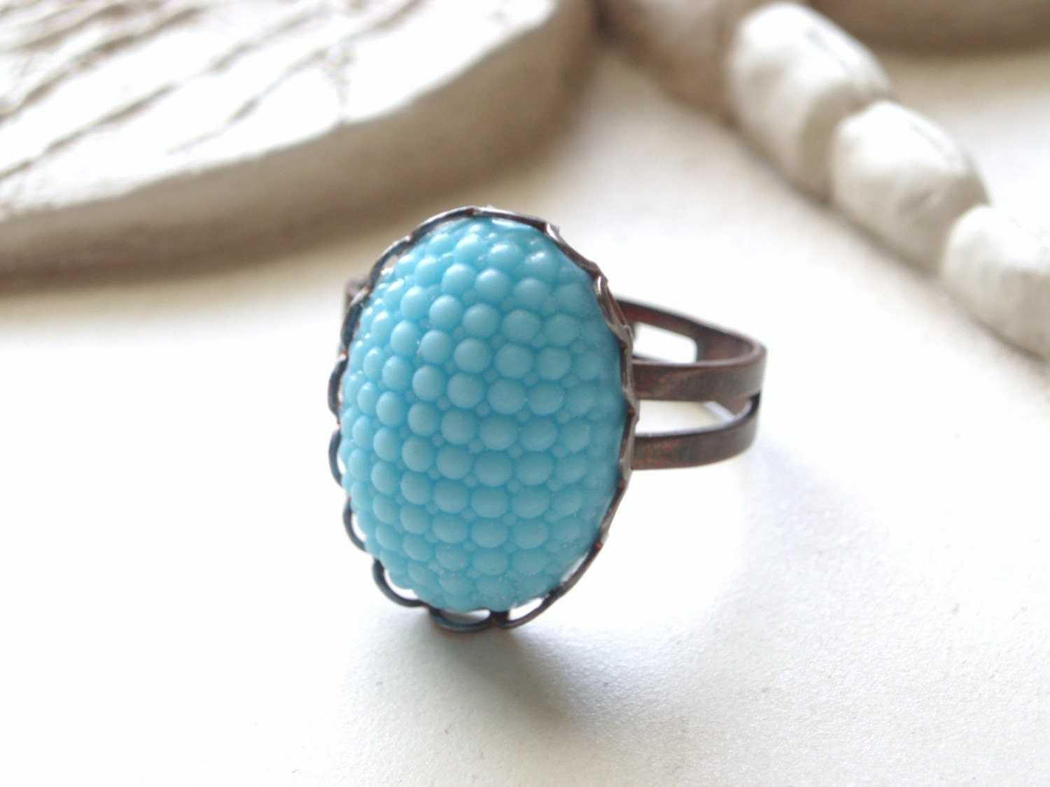 Blue Skies - Vintage Glass Ring