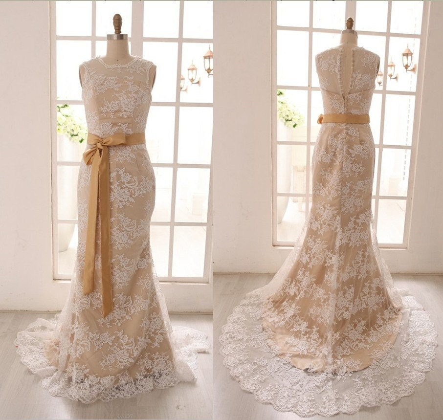 Vintage inspired ivory lace wedding dress with by misdress for Ivory champagne wedding dress