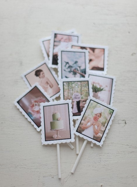 Frosted Photo Hand-glittered photo tags and Cupcake Flags