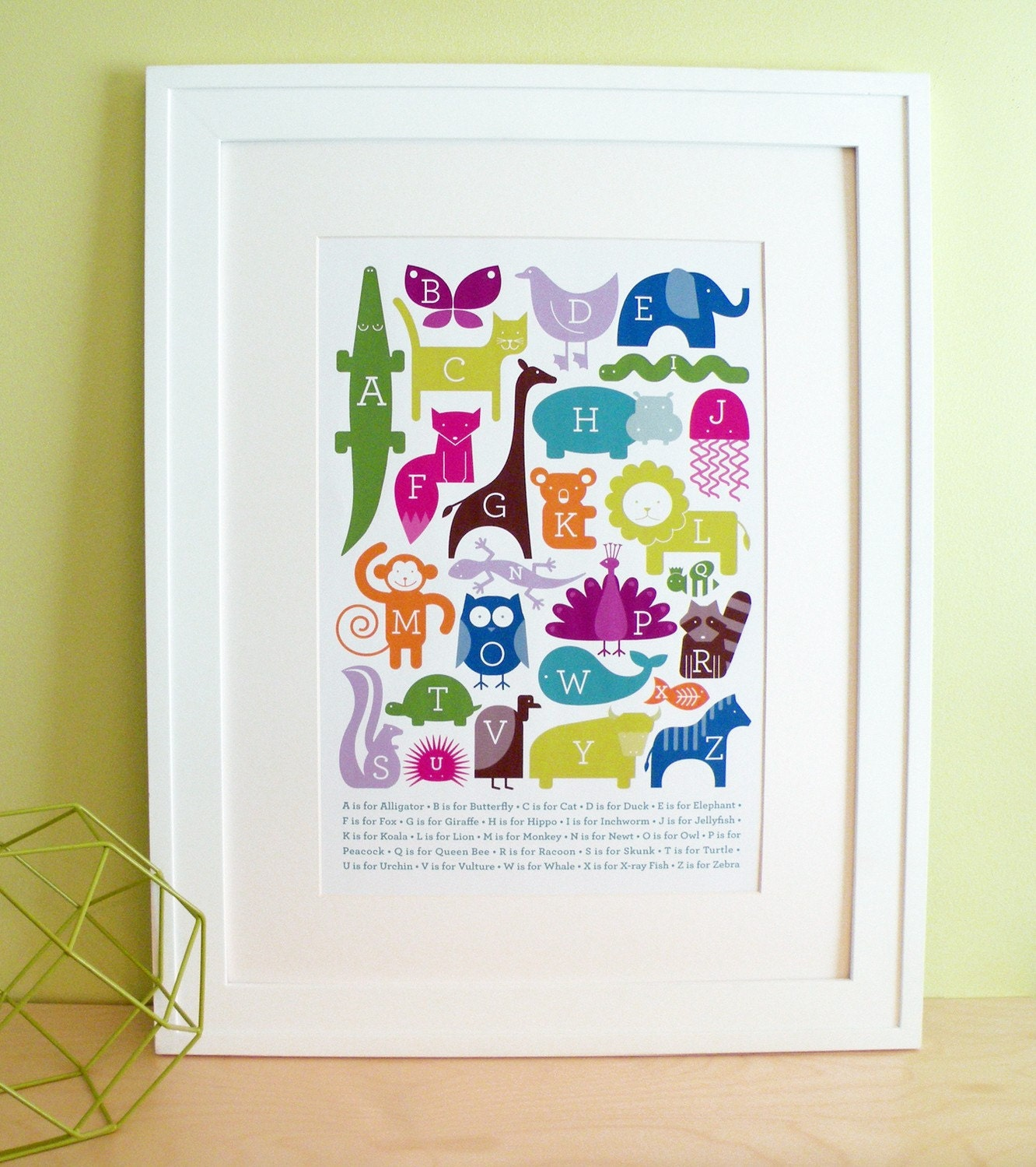 "ABC Animal Print - Bright Colors (13""x19"")"