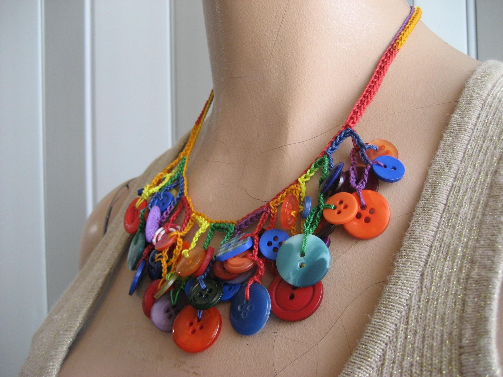 Multicolored Crochet Necklace With Buttons