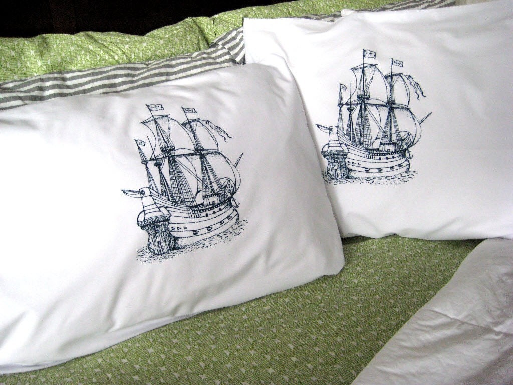 Screen Printed Nautical Pillow Cases (set of 2 standard) - Pirate Ship Pillow Covers - Eco Friendly Bedding - Nautical - ohlittlerabbit