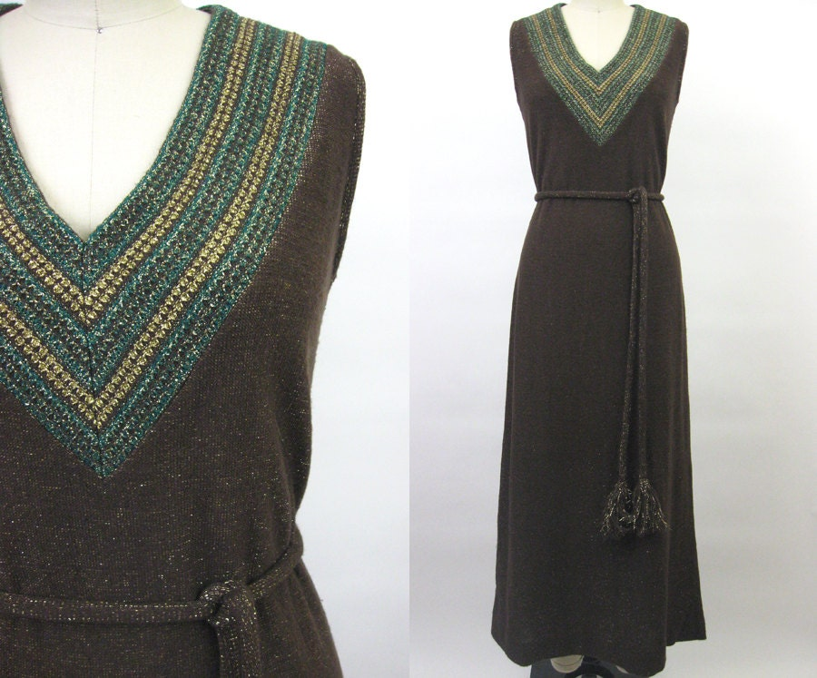 Vintage 70s Diva Sleeveless Maxi Knit Sweater Dress // Brown Green Gold Sparkle // Chevron Stripe V-Neck //  Tassel Belt // Boho // M - Threadhunter