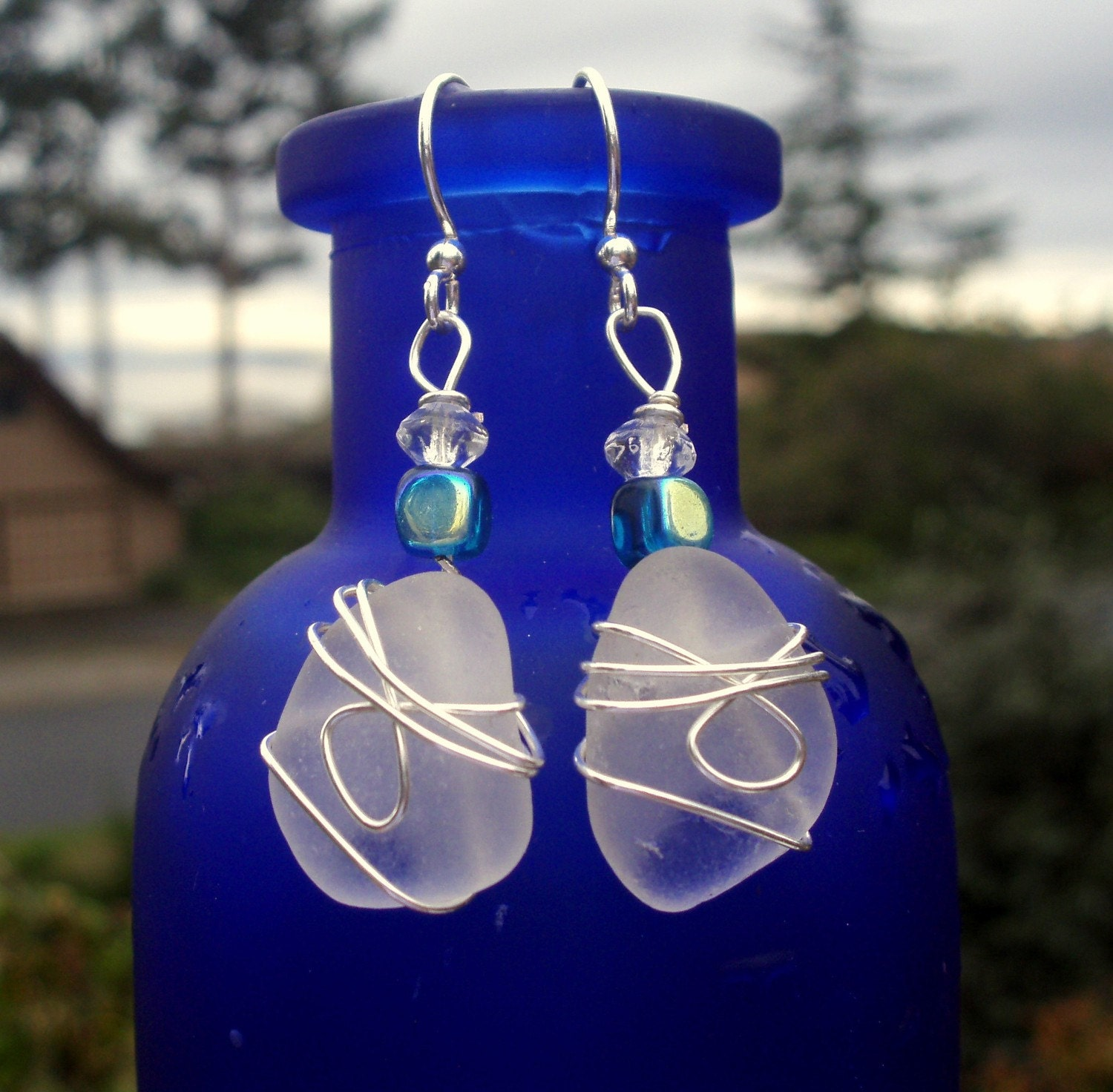Eco Friendly  Genuine Beach Glass Earrings - White with Silver