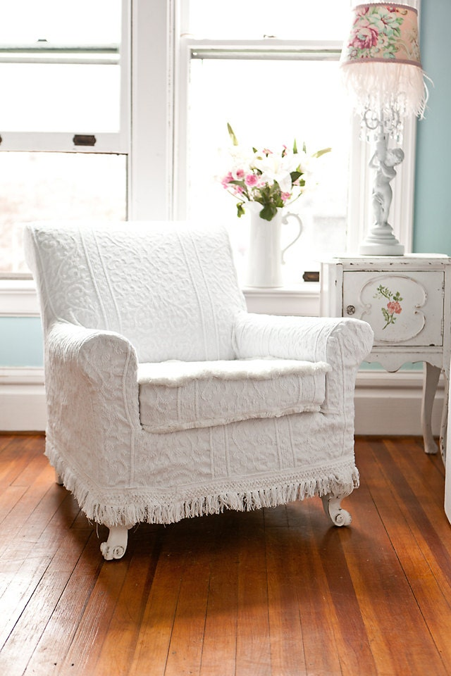 Antique Chair White Vintage Matelasse By Vintagechicfurniture