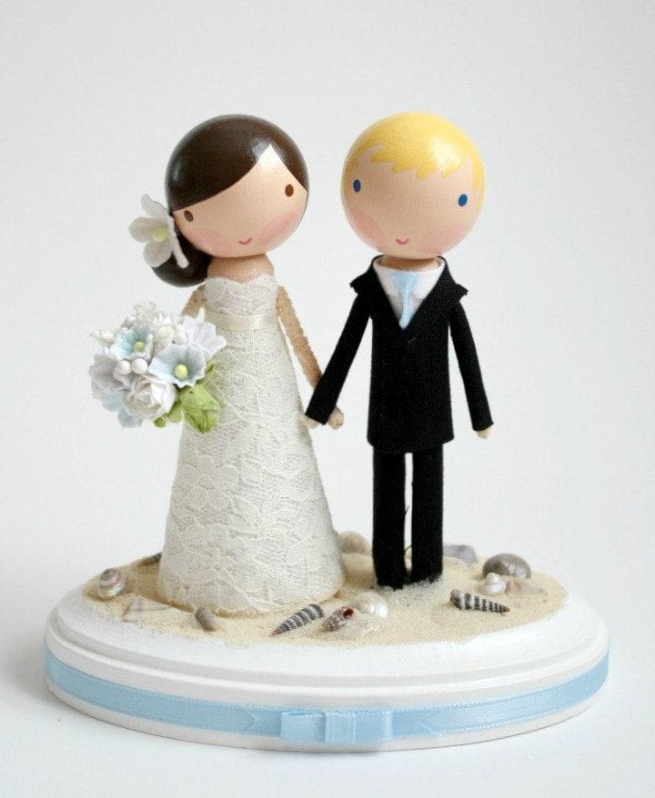 custom wedding cake topper beach theme by lollipopworkshop. Black Bedroom Furniture Sets. Home Design Ideas