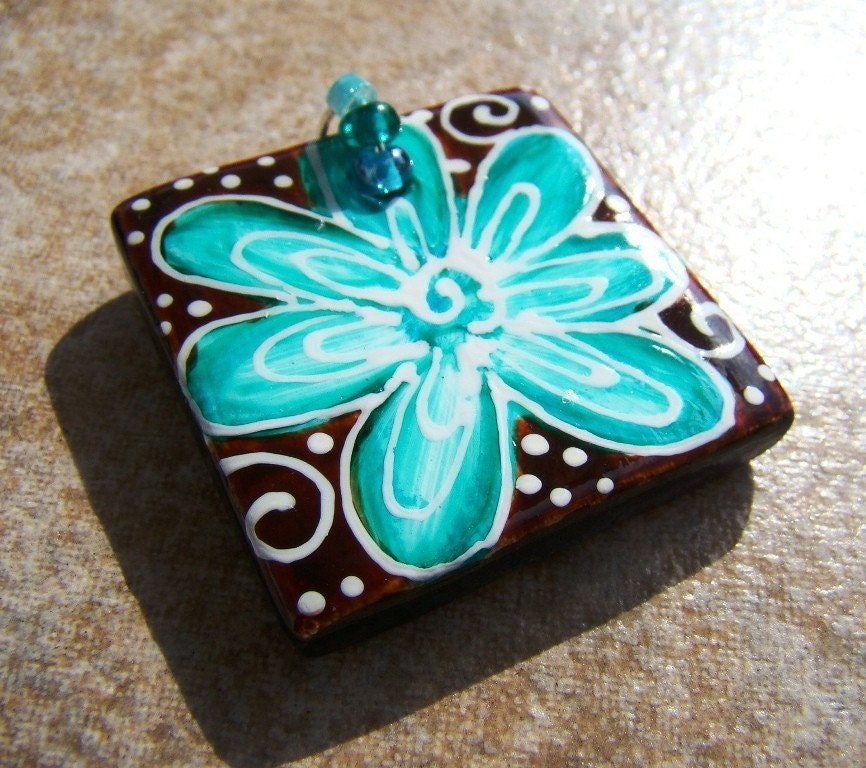 ART Pendant Hand Painted WEARABLE ART FLOWER Chocolate and Turquoise FLOWER POWER