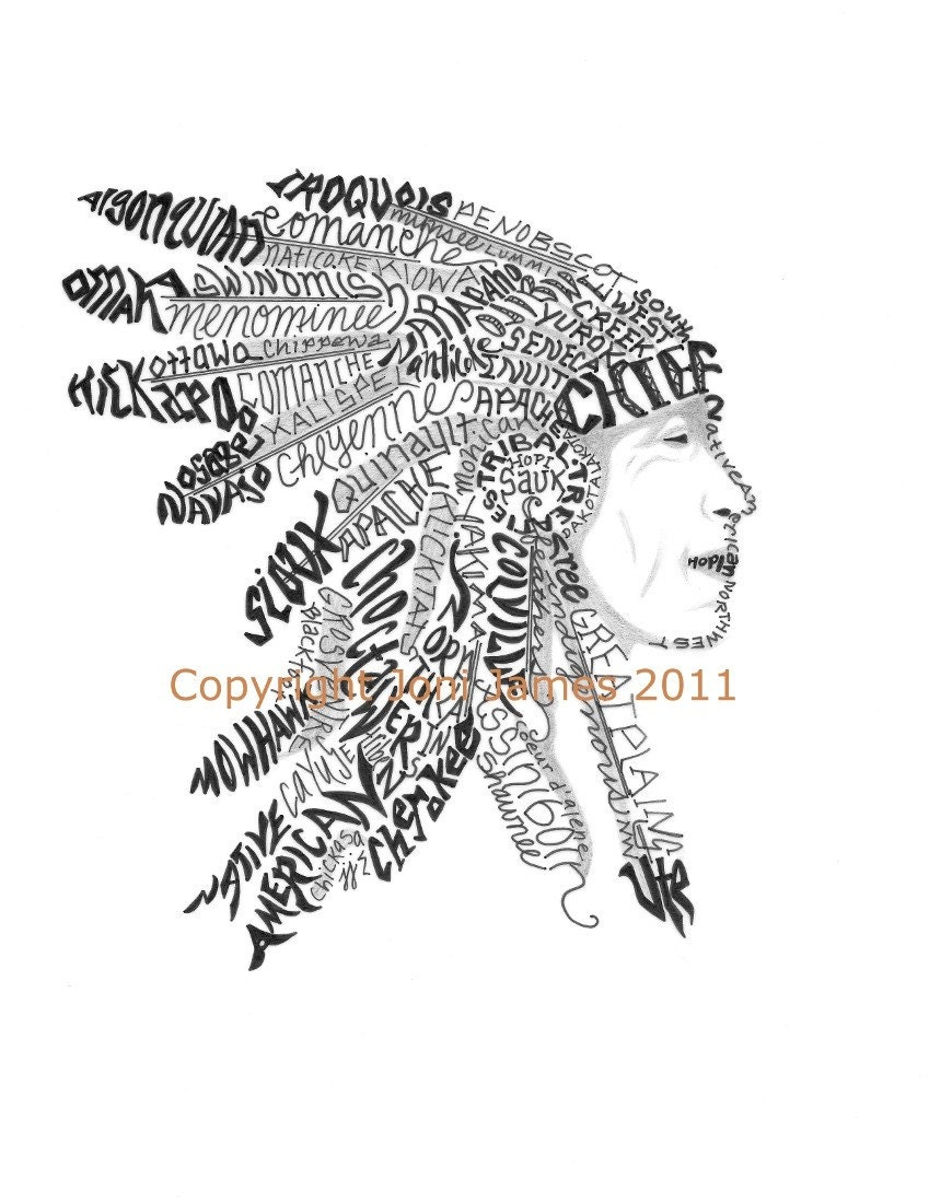 Native American Art Calligraphy Drawing, Indian Chief Word Art ...
