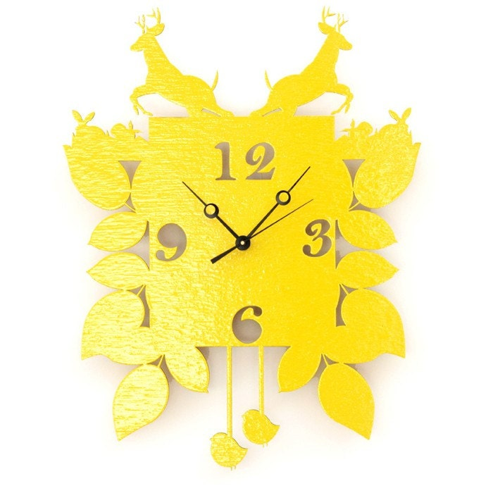 cuckoo clock. yellow. woodland, modern, by snowfawn on etsy