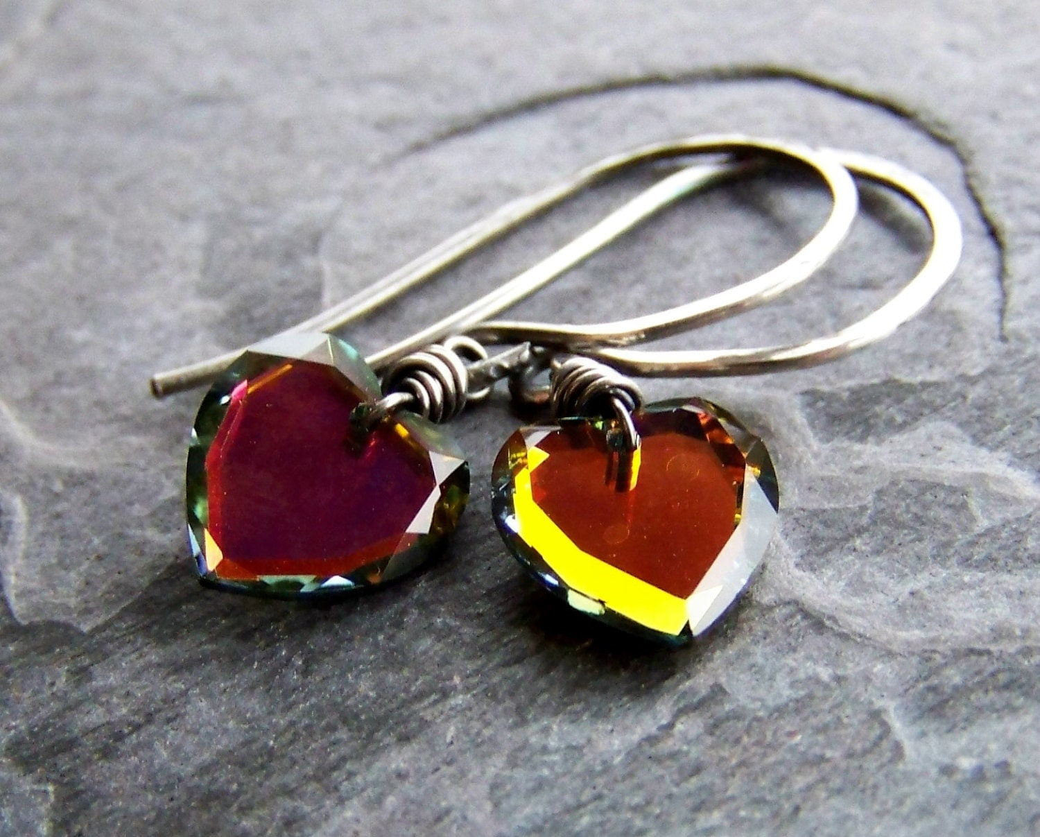 Handmade Earrings-Sterling Silver Swarovski Crystal Heart Earrings-Hearts On Fire - bluemarblebeading