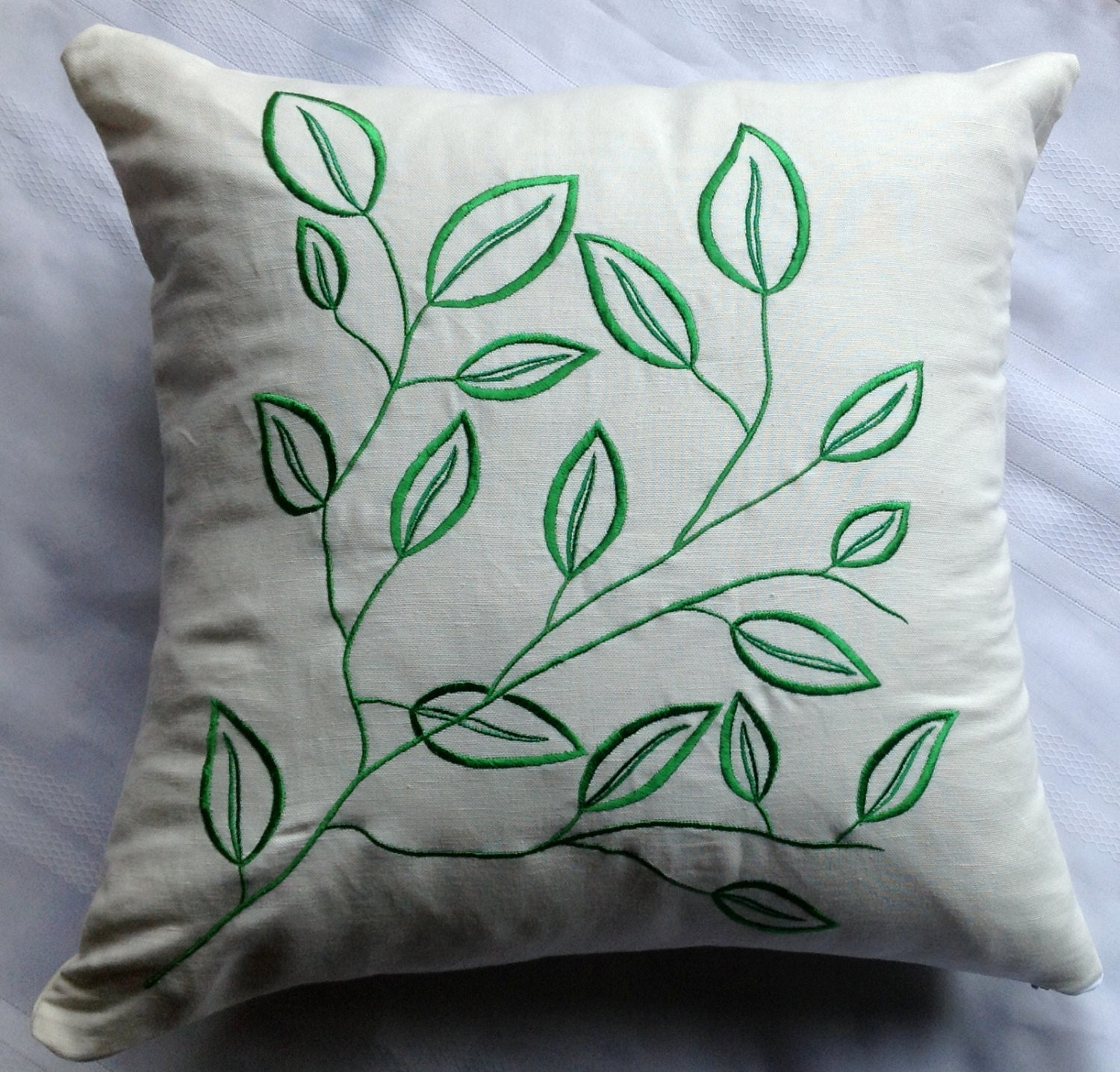 Embroidery leaf pattern cushion cover by snazzyliving
