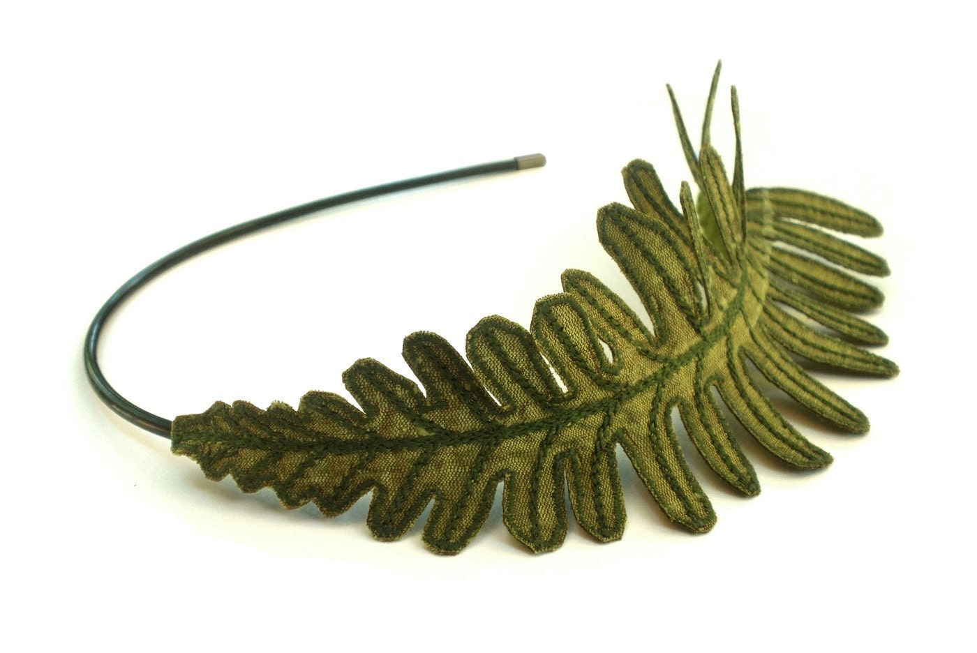 Fern Leaf Headband- Olive Green with Sage Embroidery - TheFaerieMarket