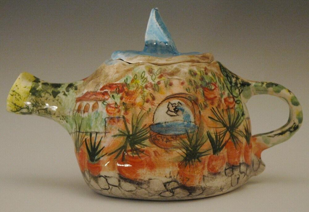 Spanish Hacienda Scene Teapot