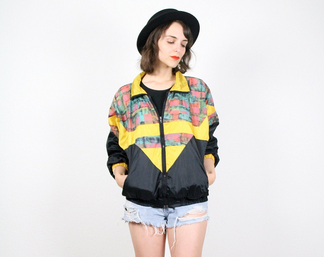 Vintage 80s Windbreaker Black Yellow Chevron Stripe Jacket Bomber Jacket Geometric Print Color Block Lightweight Coat Track Jacket M Medium - ShopTwitchVintage