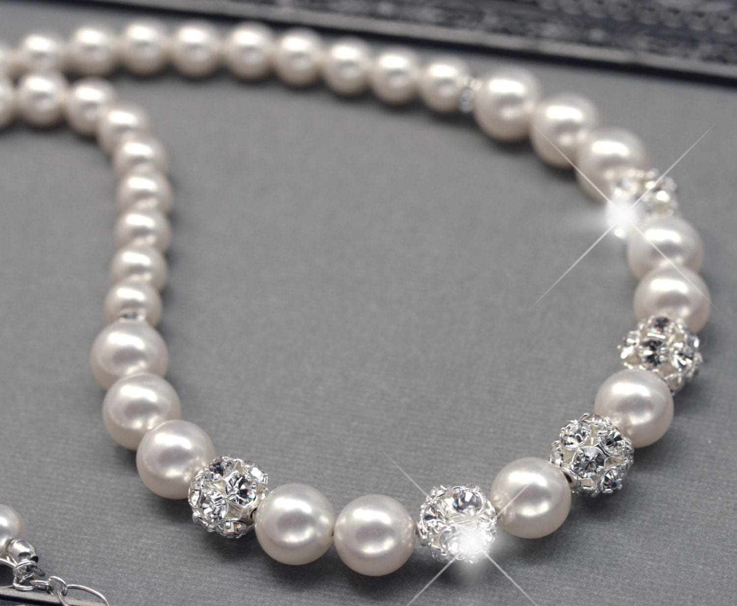 wedding pearl necklace pearl and rhinestone by