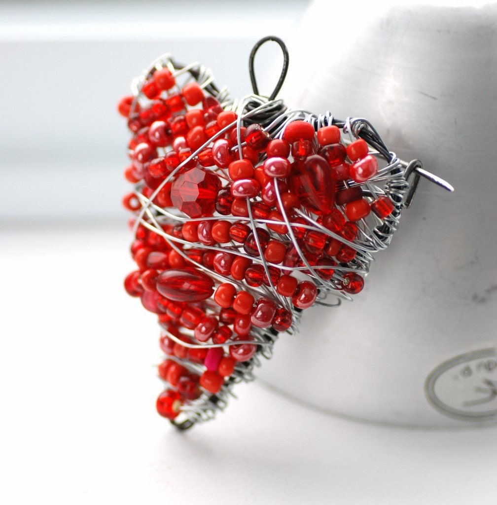Red Heart Brooch, Heart Health Awareness, Wire Beaded Heart Pin Sterling Silver - Heartbeat