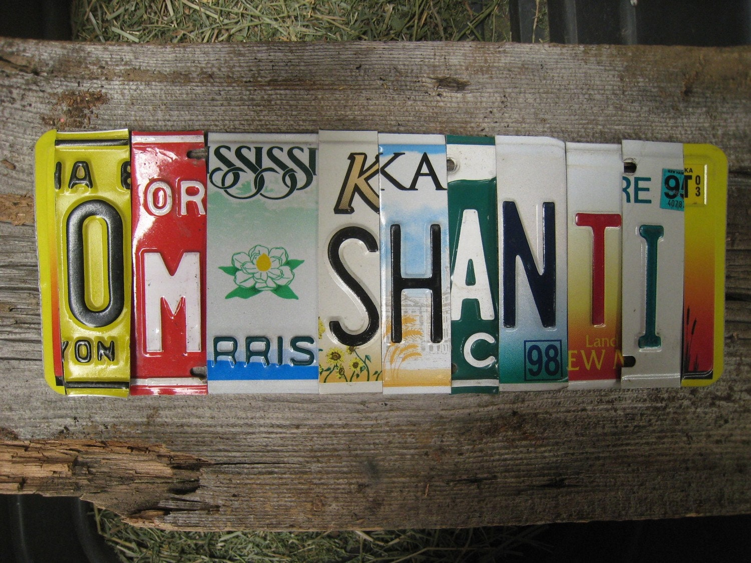 OM SHANTI lotus flower namaste ohm yoga upcycled recycled license plate art sign mounted on weathered OOAK wood tomboyART tomboy