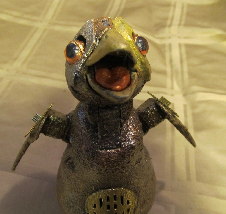 Custom Steampunk Animatronic Baby Penguin Robot - OilandLace