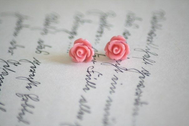 Like a Poem- 10mm Rose Earring Studs By Two Little Doves