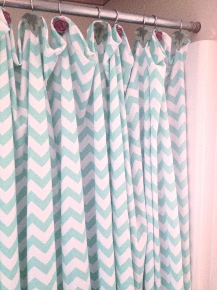 Chevron Shower Curtain Shower Curtain Mint By Missmachandmade