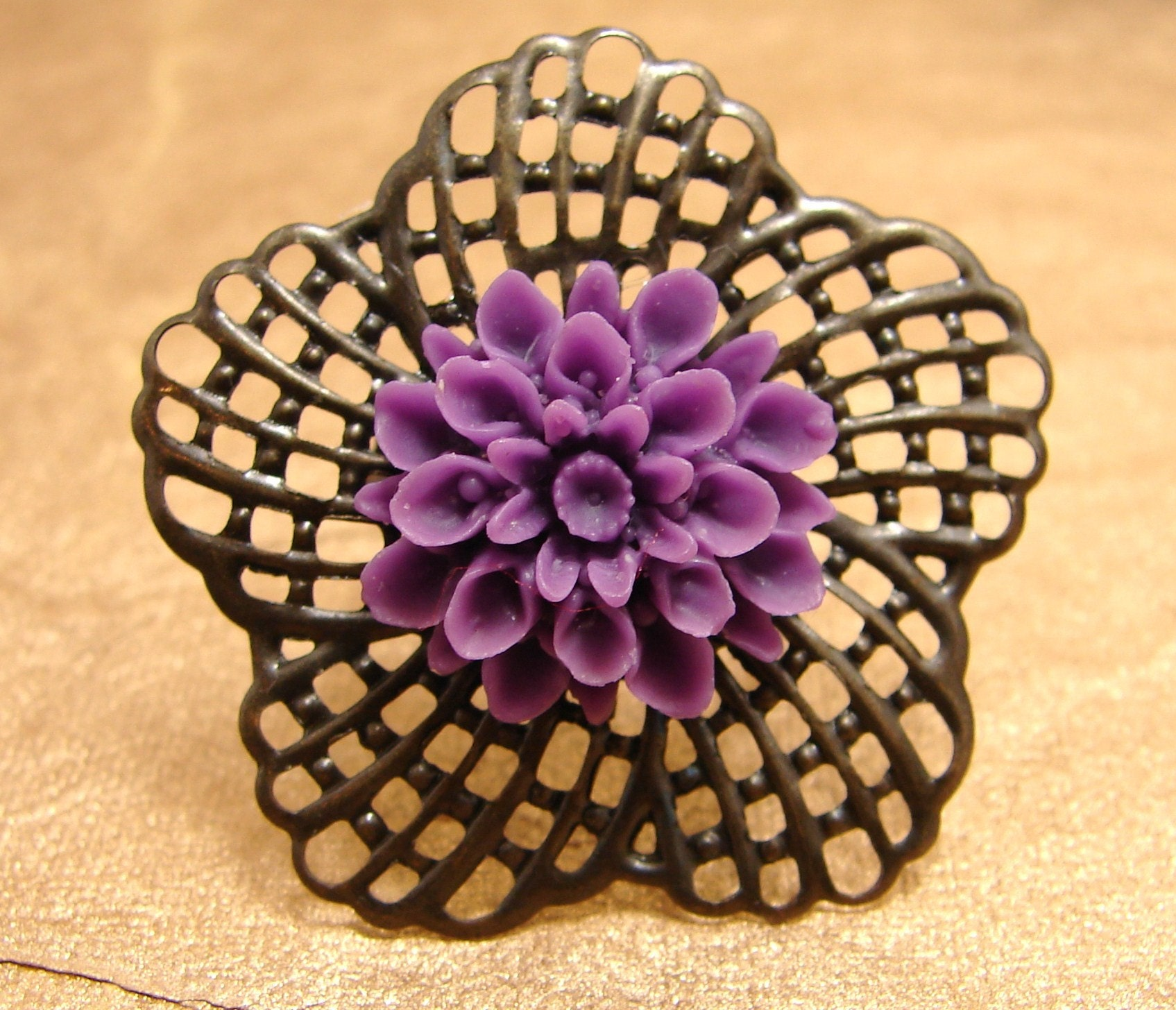 Purple Chrysanthemum Large Ring