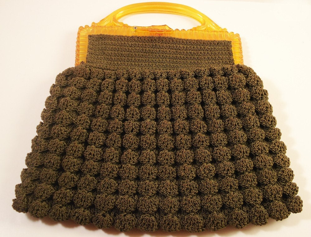 Vintage Green Corded Crocheted Purse with Amber Plastic Handle