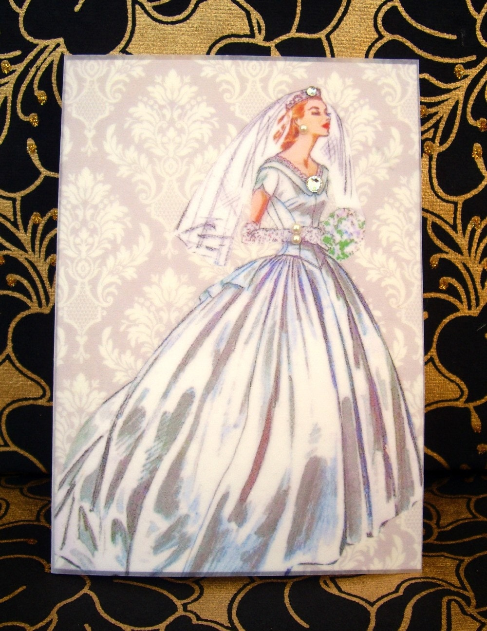 Kathryn Wedding Card / Vintage Printed Collection / 50s Glamour Girl / Handmade Greeting Card