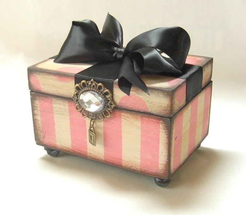 Trinket Keepsake Box Pink Striped