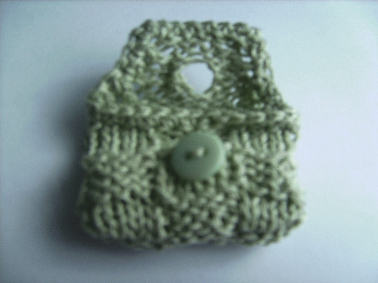 Cute Small Knit Light Green Hand Clutch Purse Wallet for a Doll
