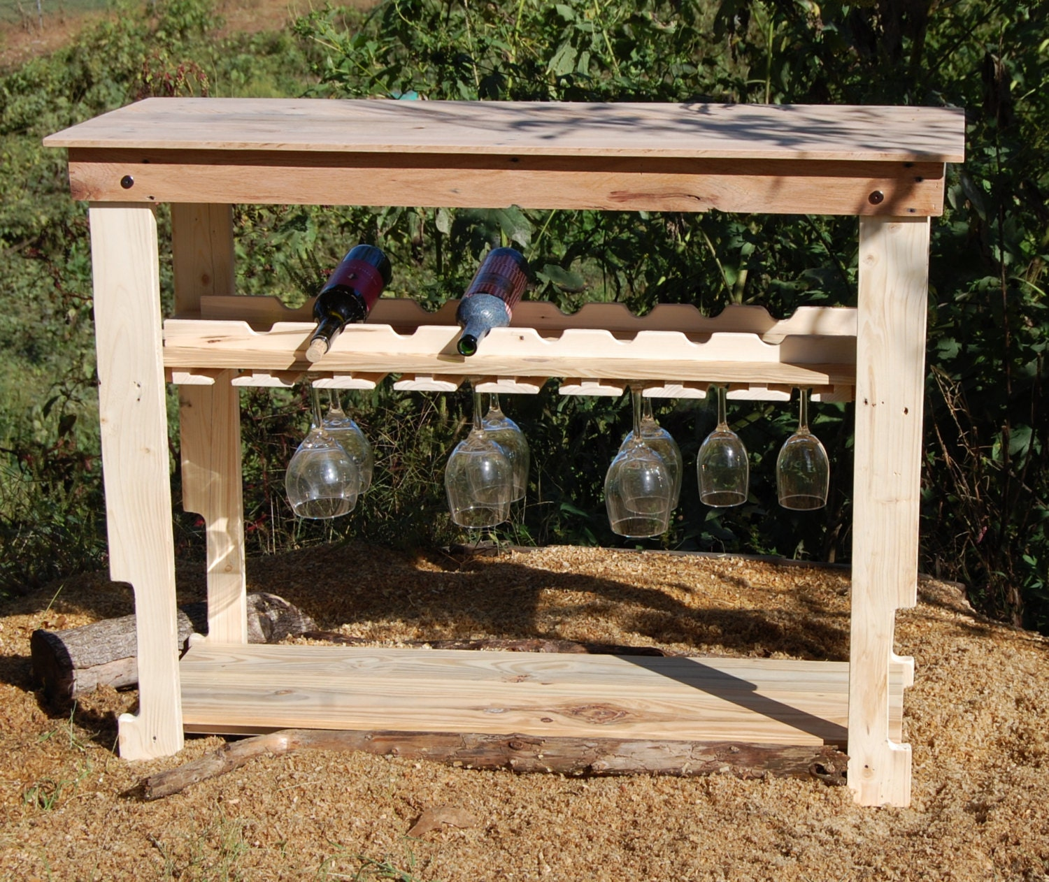 Unfinished Reclaimed Wood Wine Rack Table/ by LooneyBinTradingCo