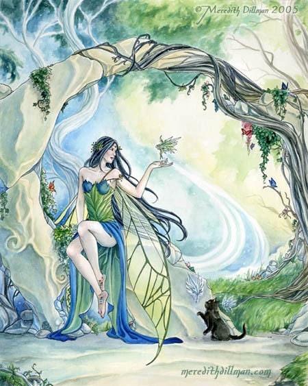 Faery Glen fairy, elf ,cat 8x10 art print