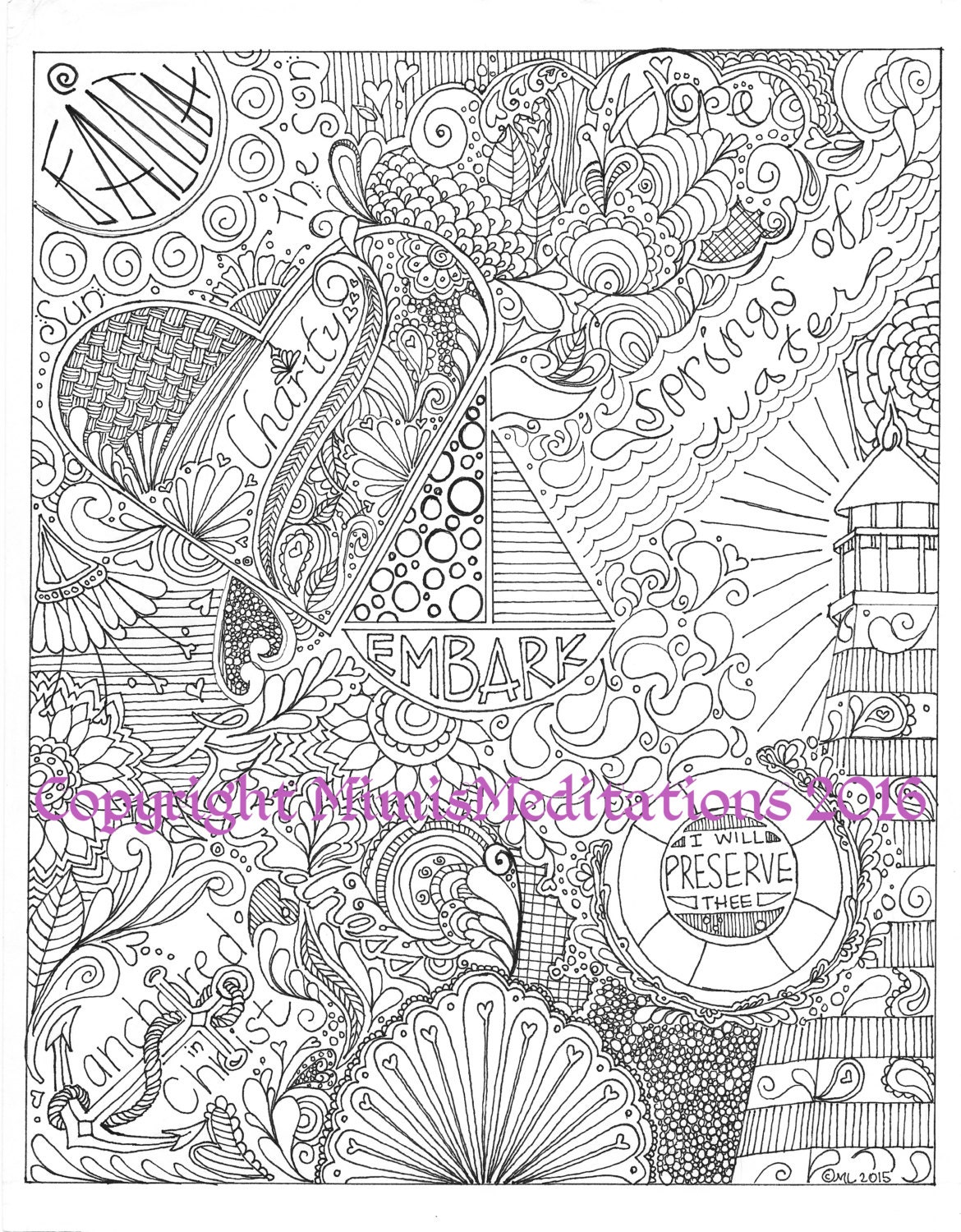 Inspirational Coloring Page With Theme Embark And Anchored In