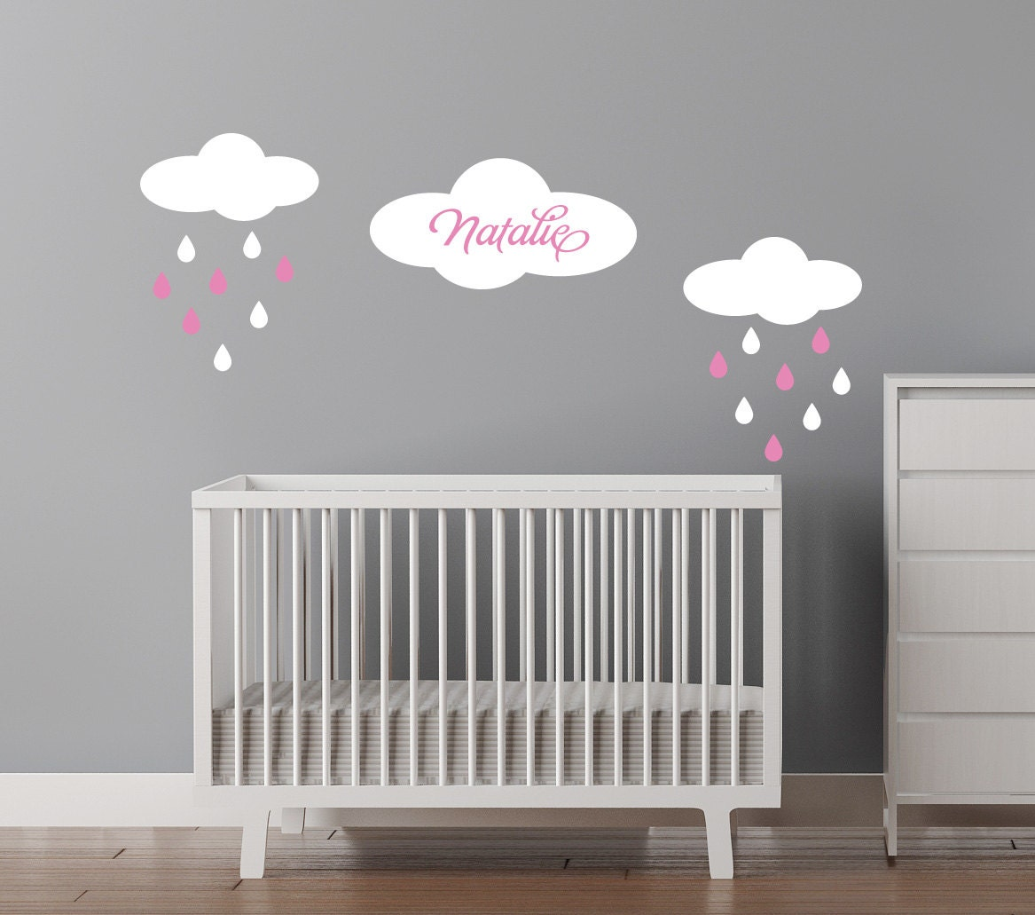 Custom Name Decal - Baby Girls Name - Clouds with raindrops personalized decal Free US Shipping - CherryWalls