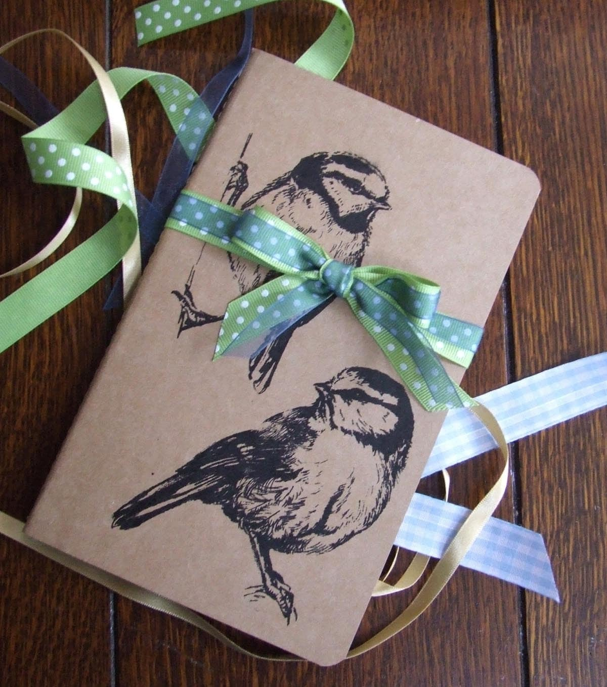 Large BlueTit Pair Gocco Printed Moleskine Notebook