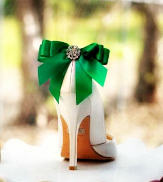 Shoe Clips Bow Kelly Green / Yellow / Tangerine Orange / Blue / Purple.  White Ivory Pearl / Rhinestone. St Patricks Day Bright Satin Ribbon