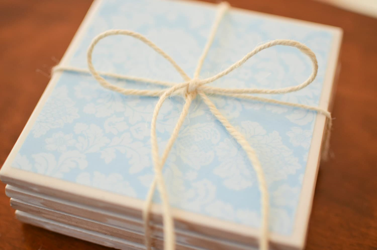 Light Blue Damask Coasters, blue coasters, coasters, damask coasters - TheCoasterStudio