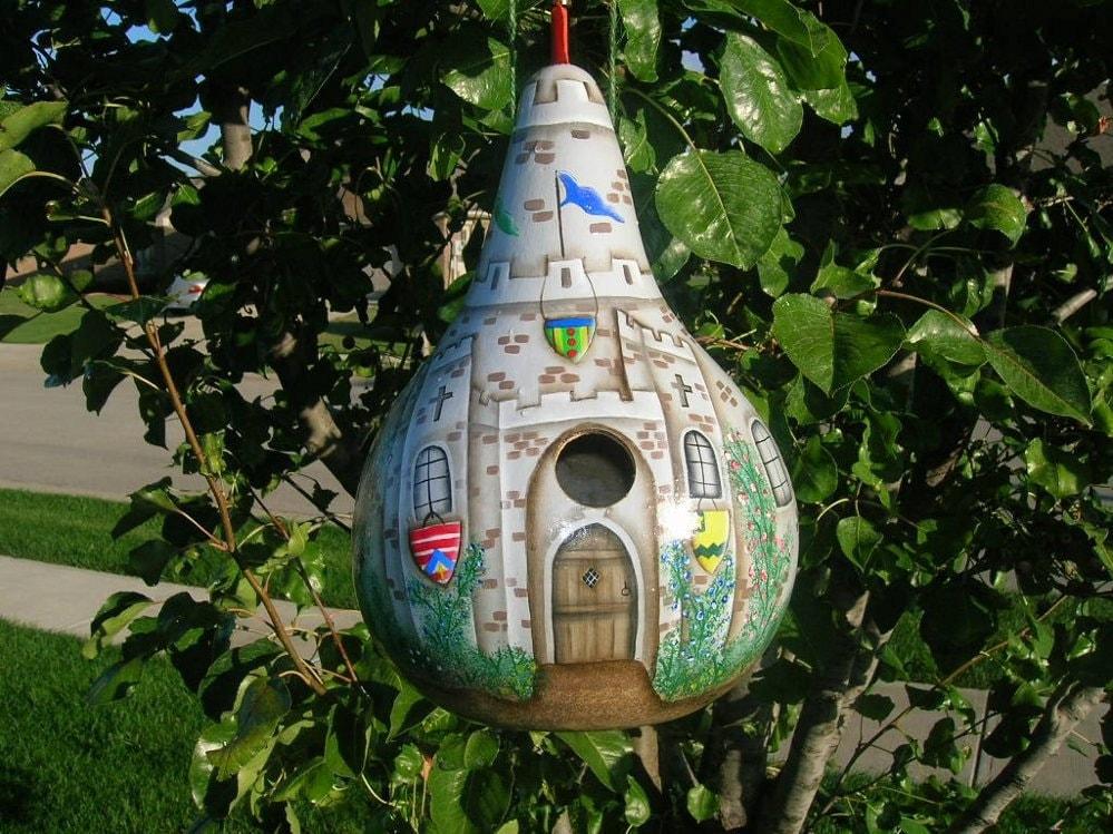 Castle birdhouse gourd