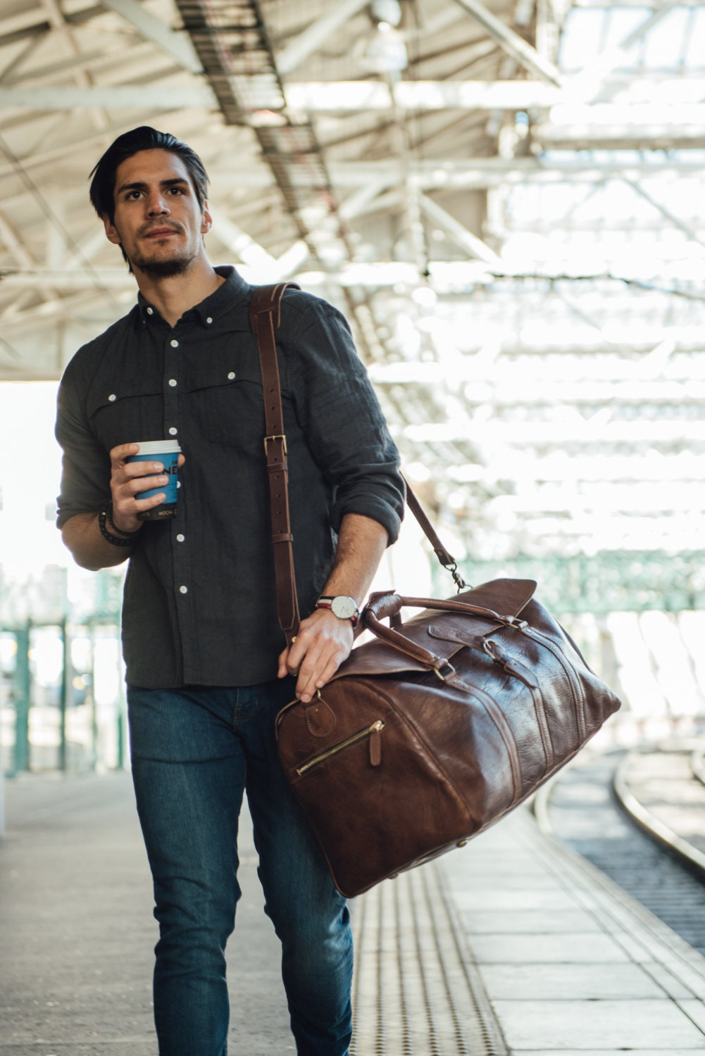 Large Mens Leather Duffle Bag Travel Holdall Luggage Carry All Holdall Leather Luggage Carry on Baggage Vegetable Tanned Suitcase