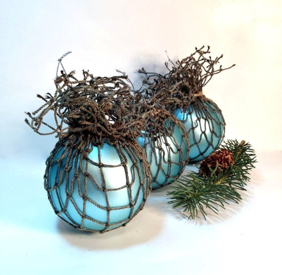 Nautical Christmas Tree Ornaments Beach Decor in Mermaid Blue Seaside Inspired Christmas Decor - northandsouthshabby
