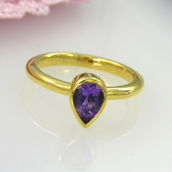14K yellow gold over sterling silver purple amethyst ring - READY TO Ship